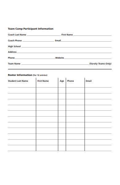 team camp registration form