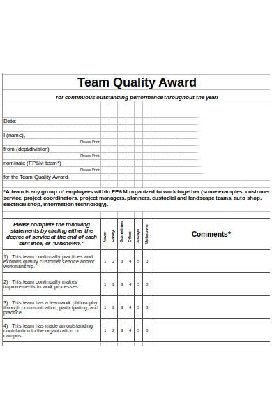 team quality award form
