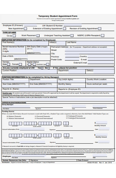 temporary student appointment form