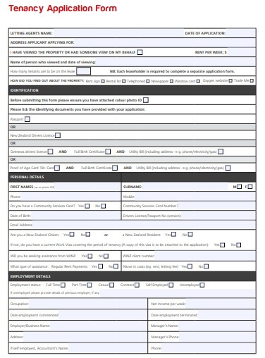 tenancy agent application form