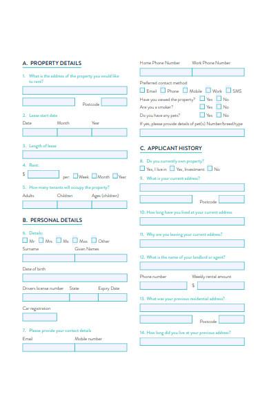 tenancy application checklist form