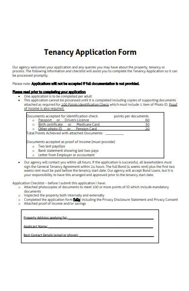 tenancy documentation application form
