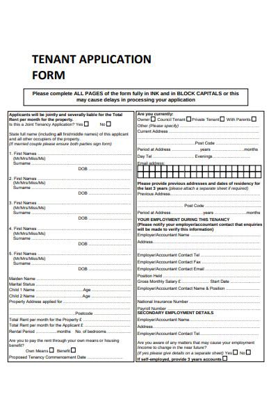tenant application information form