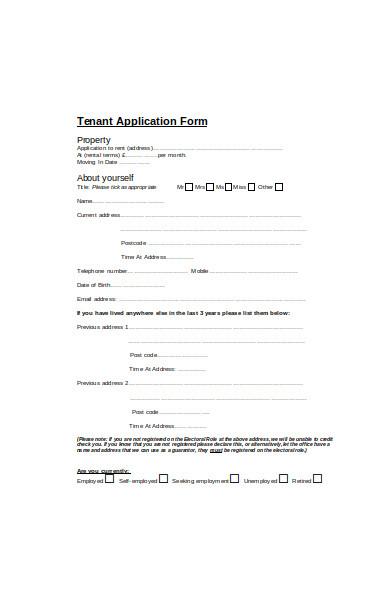 tenant application postcode form