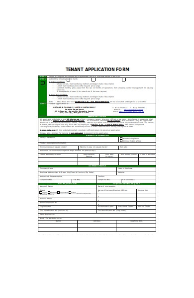 tenant application steps form