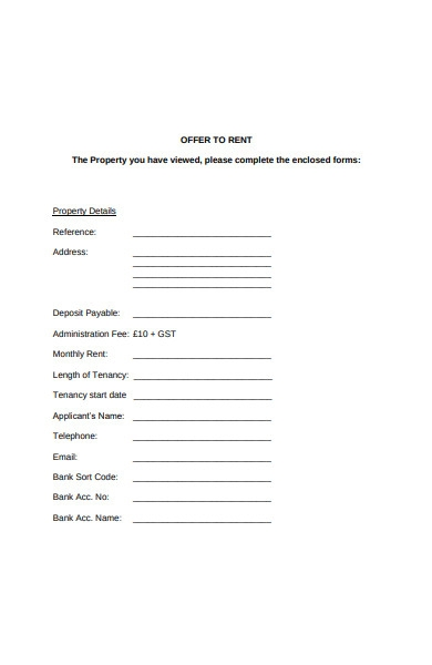 tenant offer to rent application form