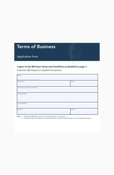 terms of business application form