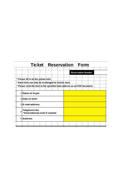 ticket reservation form