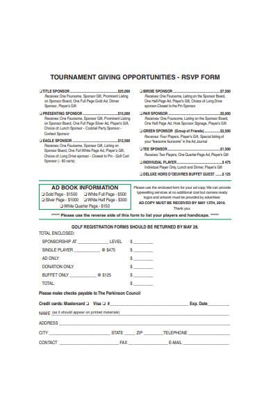 tournament rsvp form sample