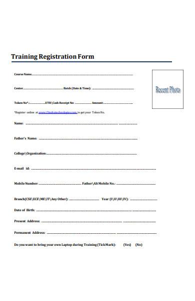 training registration form