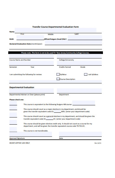 transfer evaluation form