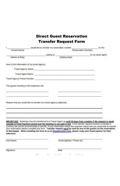 transfer reservation form
