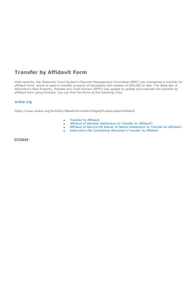 transfer by affidavit form