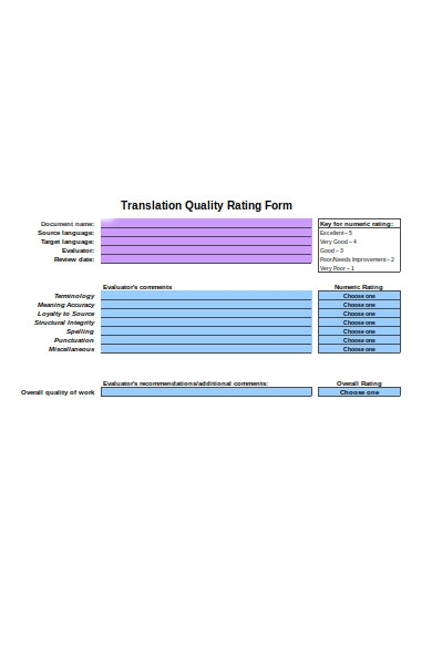 translation evaluation form