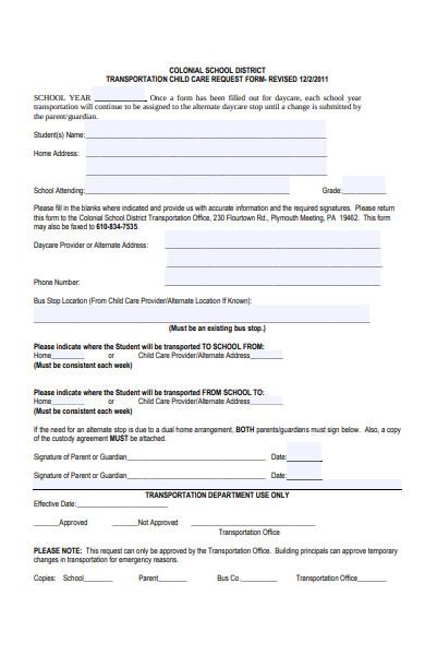 transportation childcare request form