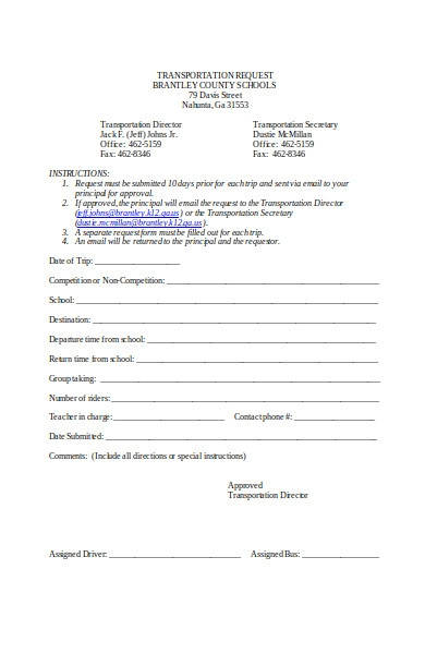 Free 32 Transportation Request Forms In Pdf Ms Word Excel