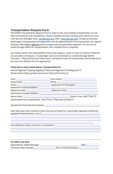 transportation request policy form