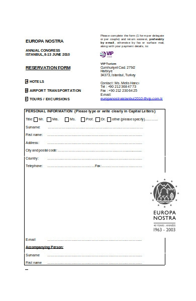 transportation reservation form