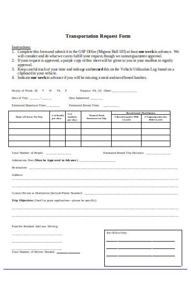 transportation service request form