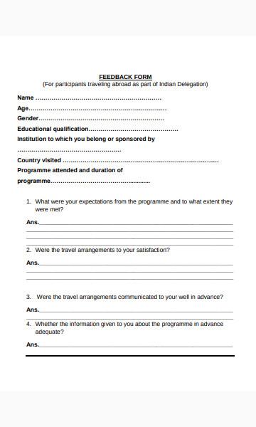 travel feedback form