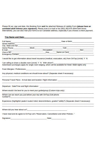 trip reservation form