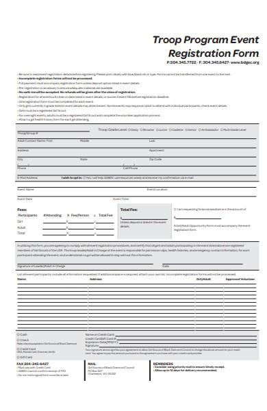 troop program event registration form