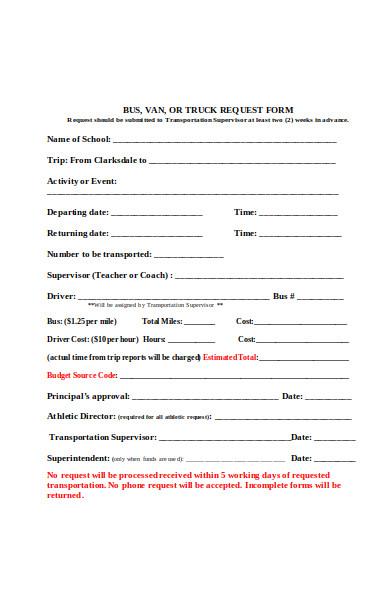 truck transportation request form