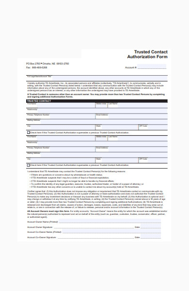 trusted contact authorization form