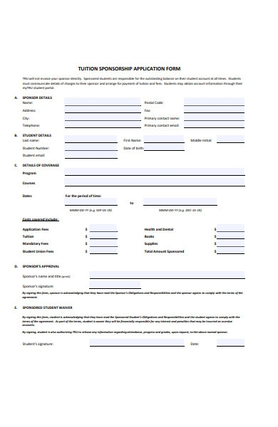 tuition sponsorship application form