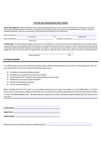 tutor recommendation form