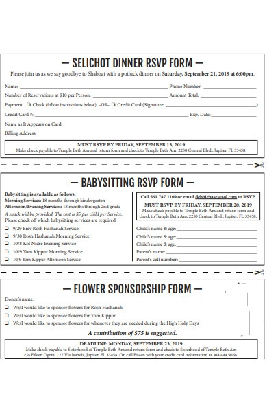 types of rsvp forms