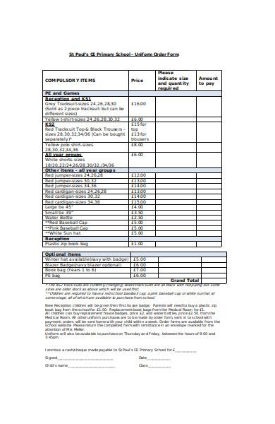 uniform book order form