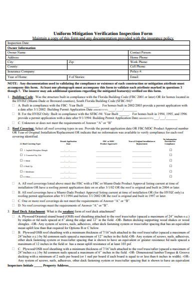 uniform verification inspection form
