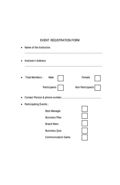 university event registration form