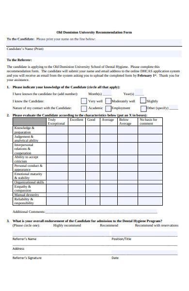 university recommendation form