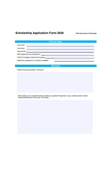 university scholarship application form