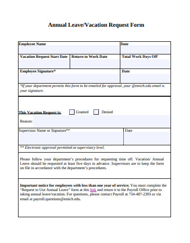 vacation annual leave request form