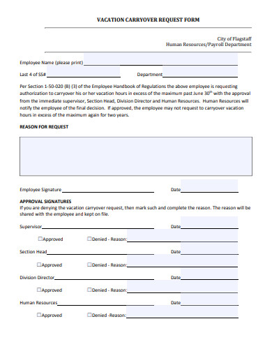 vacation carryover request form