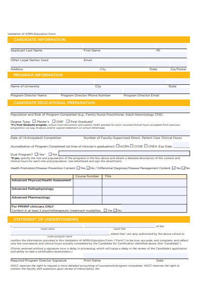 validation of education form
