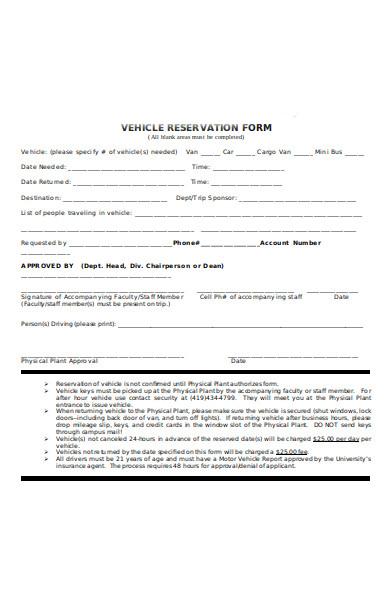 vehicle reservation form
