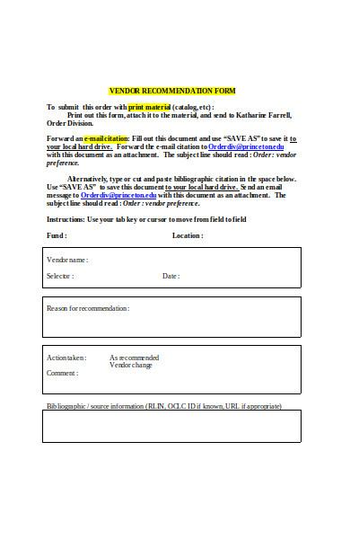 vendor recommendation form