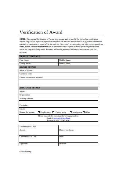 verification of award form