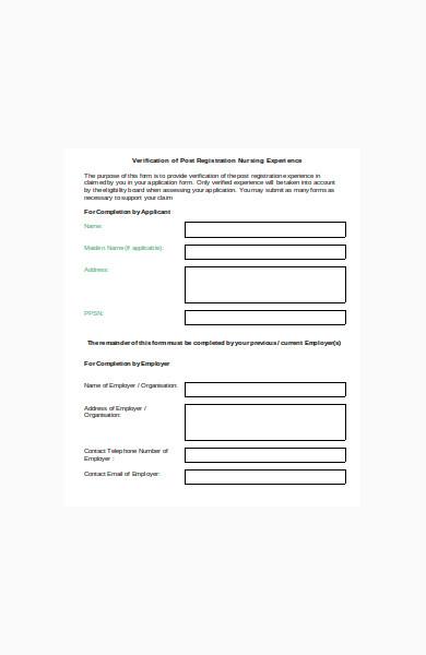 verification of service form