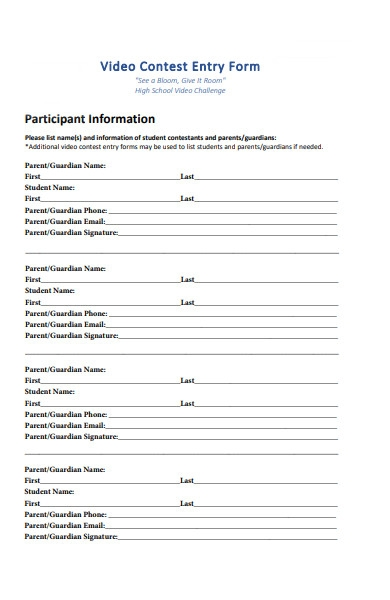 video contest entry form