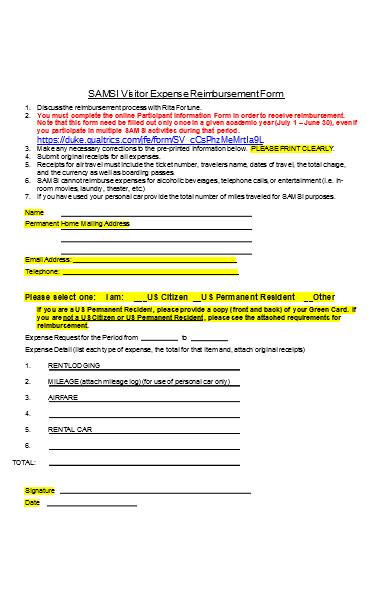 visitors expense reimbursement form