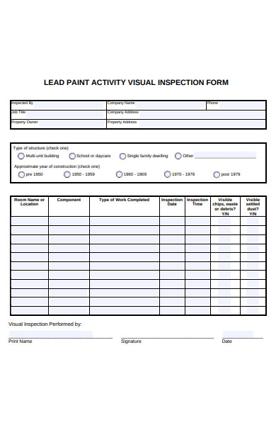 visual inspection form