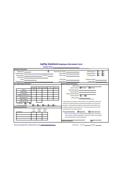 voluntary employee information form