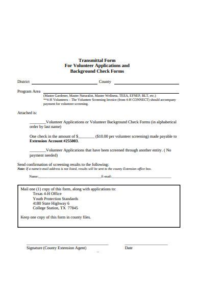 volunteer application transmittal form