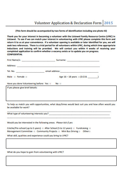 volunteer application and declaration form