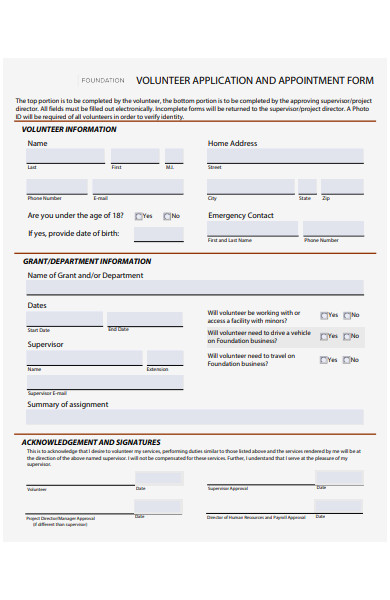 volunteer appointment form